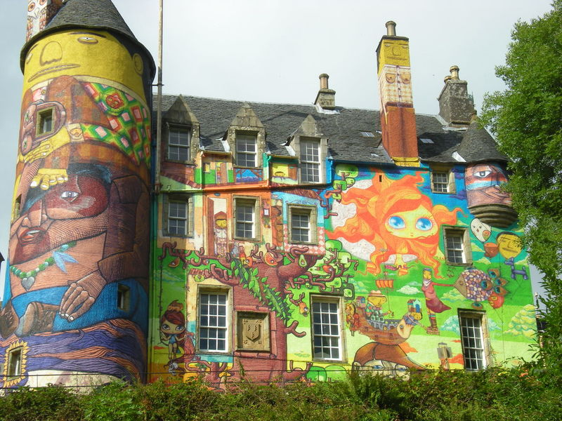 The graffiti artwork of four Brazilian graffiti artists on the walls of Kelburn Castle, in 2009. Architecture Building Exterior Casual Clothing Façade Funny Graffiti Graffiti Art Kelburn Kelburncastle Out Of The Ordinary Painting Scotland Scottish Castle Sightseeing Tourist Attraction  Unexpected Unexpected Beauty Wall Painting Weird Weirdart