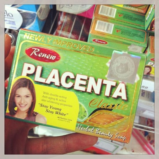 Placenta soap! I'm gonna look soooo young and soooo white! Placenta Soap