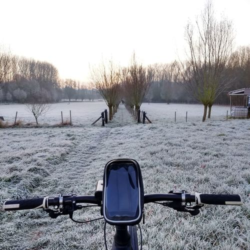 Mountainbike Handlebar Winter Active Lifestyle  Sports Rural Frost Frosty Morning Bike Ride Bicycle Navigation Water Winter Snow Cold Temperature Sky Cycling Mountain Bike Countryside Tranquil Scene