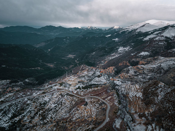 Aerial view of snowcapped mountain road against sky