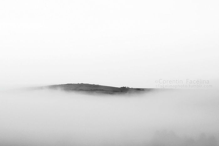 Mist Hill Black & White Brouillard Brume Negative Space