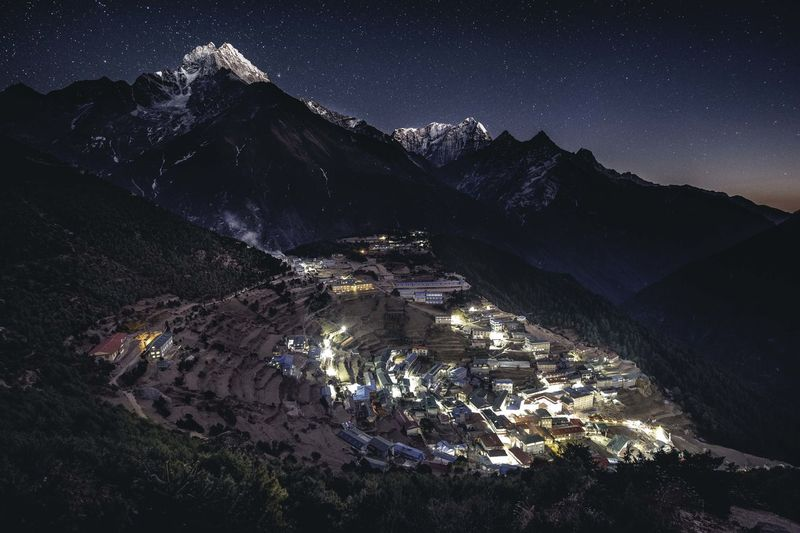 Namche Bazaar is the biggest mountain village in the Khumbu Everest region. Khumbu Valley Khumbu Twilight Stars Night Mountain Village Everest Region High Angle View Snowcapped Mountain Non-urban Scene Landscape Winter Mountain Range Snow Tranquility Cold Temperature Mountain Himalaya Himalayas Nepal Namche Bazaar EBC EBC Trekking The Great Outdoors - 2019 EyeEm Awards