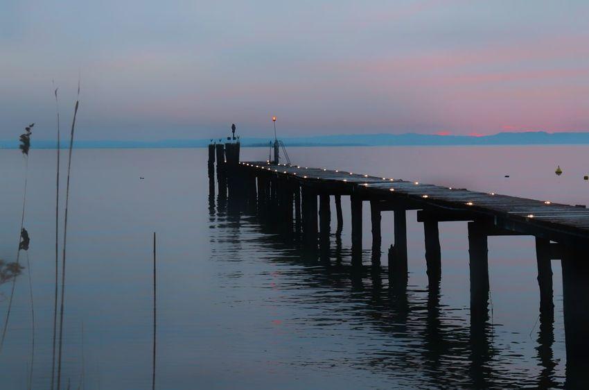 pontile Italy Lake Garda Lake Lake Lazise Pinklake Pink Lazise Lake Garda Lake Front