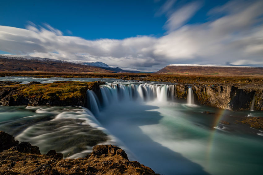 Godafoss Wasserfall / Waterfall Long Exposure Langzeitbelichtung Langzeitbelichtung✔ Langzeitaufnahme Long-exposure Iceland Iceland_collection Nature Photography Nature Landscape Landschaft Natur Sky Himmel Wolken Clouds Covered Bedeckt Gischt Spray Spraying Water Water Tree Waterfall Mountain Snow Forest Fog Lake Power In Nature Blue