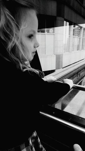 Seattle Downtownseattle Monorail  FirstTime FrontSeat Lovethisgirl Blackandwhite Silhouette