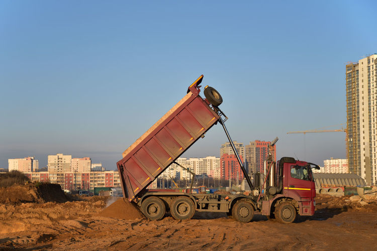 View of construction site against clear sky