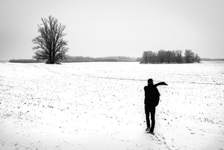 Copy Space Walking Warm Clothing Standing Environment Tranquil Scene Day Covering Scenics - Nature Field Sky Rear View Full Length Real People One Person Winter Cold Temperature Snow Outdoors Nature Beauty In Nature Plant Land Tree Black And White