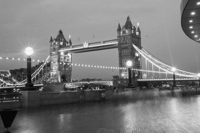 View of suspension bridge at night