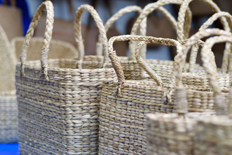 Close-up of baskets