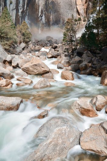 River flowing through rocks in forest