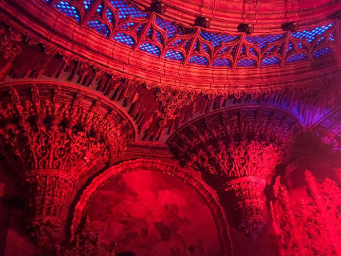 Red Pattern No People Full Frame Indoors  High Angle View Arts Culture And Entertainment Architecture Built Structure Illuminated Ornate
