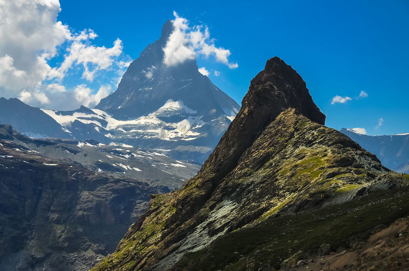 Matterhorn  Zermatt Alps Beauty In Nature Cloud - Sky Day Environment Formation Geology Height High Idyllic Landscape Mountain Mountain Peak Mountain Range Nature No People Outdoors Rock Scenics - Nature Sky Snowcapped Mountain Tranquil Scene Tranquility