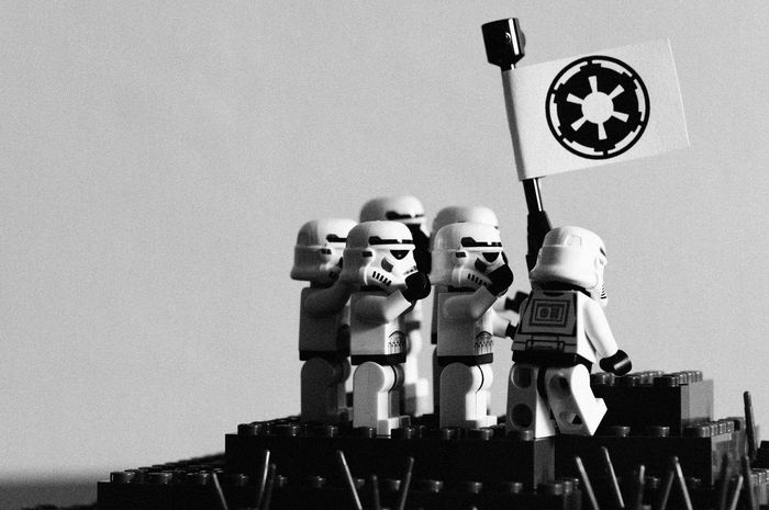 Raising the flag Toy Photography LEGO Stormtrooper Starwars Humour War Black And White Photography