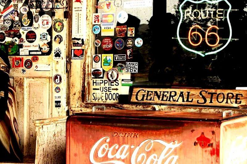 Tripthroughusa HackberryGeneralStore Hippie Sidedoor Route66 Coca Cola Stickers