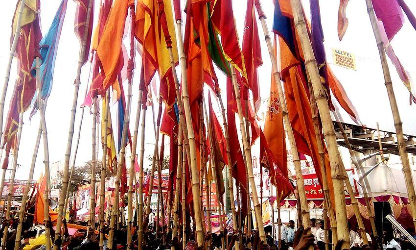 Beautiful Flags India Ramnavmi Festival People Crowd