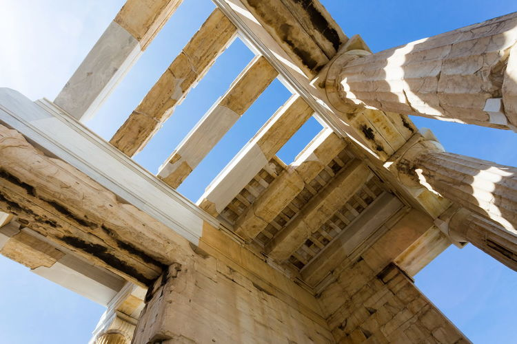 Architectural detail of ancient temple on acropolis hill