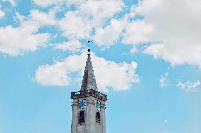 EyeEm Selects Church Tower Architecture Architectural Feature Architectural Detail Building Exterior Built Structure City Religion Travel Destinations Sky Cloud - Sky Blue Minimal Minimalobsession Minimalism Simplicity From My Point Of View in Rust, Austria Breathing Space