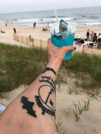 A shark in my drink!🦈 Bats Tattoo Beach LongIslandNY Longisland New York Smithpoint Drink Shark Land Human Body Part Beach Human Hand Hand Water Sea