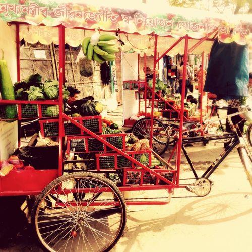 A modified cycle rickshaw to vend veggies! Urbanphotography Citysights Guwahati Iphonephotography Colours Eyeemphotography ShotOniPhone6 Foodphotography Fresh Veggies Wintertime Localproduce Localmarket Sightsontheway