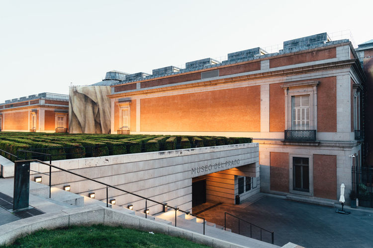 View of Prado Museum in Madrid at sunset. It is the main Spanish national art museum Goya Jeronimos Prado Museum Architecture Art Building Capital City Cityscape Culture Destination Europe European  Exterior Façade Famous Gallery Heritage Historic Historical History Landmark Madrid Monument Museo Museum Old Outdoors Paintings Pinaco Place Prado Sightseeing SPAIN Spanish Street Sunset Tourism Travel Urban Velázquez