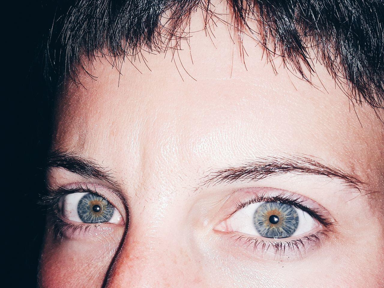 human eye, looking at camera, human body part, real people, portrait