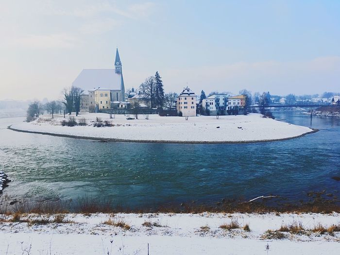 Riverside Laufen Salzach Water Winter Day Cold Temperature No People Snow