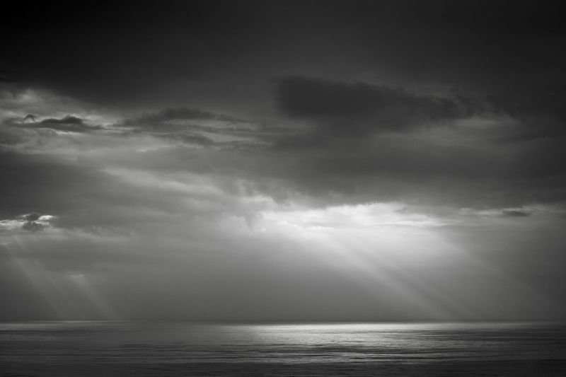 Beauty In Nature Blackandwhite Cloud - Sky Cloudscape Dark Dramatic Sky Environment Horizon Horizon Over Water Nature No People Ominous Outdoors Overcast Scenics - Nature Sea Sky Storm Storm Cloud Thunderstorm Water
