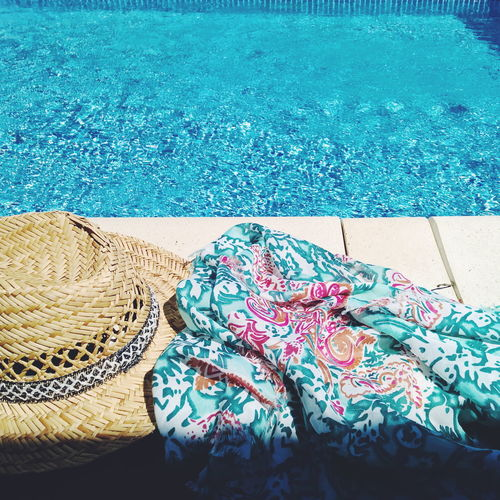 at the pool Pool Poolside Pool Time Swimming Pool Blue Hat Strawhat Textile Sarong Water Summer Summertime Swimmingpool Swimming Time