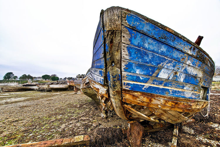 Brittany Nikon Abandoned Bad Condition Beach Boat Clear Sky Damaged Day Deterioration Landscape Nature Nautical Vessel Nikonphotography No People Obsolete Old Outdoors Run-down Rusty Sky Transportation Waterfront Weathered Wood - Material