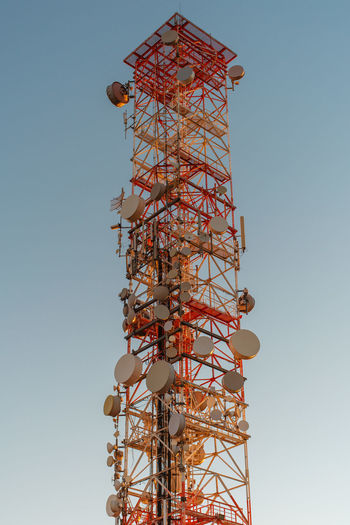 Tower Low Angle View Built Structure Architecture Sky Tall - High Communication Clear Sky No People Nature Technology Global Communications Day Metal Satellite Outdoors Connection Broadcasting Satellite Dish