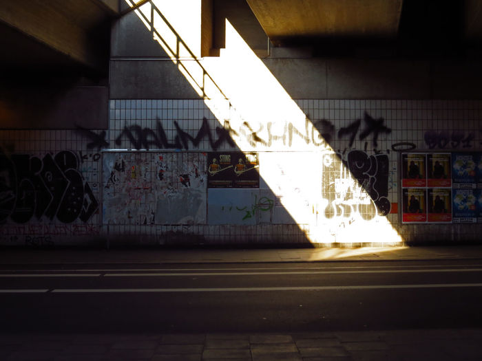 Architecture Rail Transportation Transportation Built Structure Public Transportation Mode Of Transportation Track No People Building Exterior Railroad Track Graffiti Train Railroad Station Platform Train - Vehicle Railroad Station City Wall - Building Feature Travel Light Light And Shadow Beam Of Light Beam Lightbeam Halo Sharp Contrast Contrast Contrast And Lights Tag Tags Graffiti Wall Trainstation Street Bochum Bochum Impressionen Dirty Wall Light Coming Through Coming Through Highlights Illuminated
