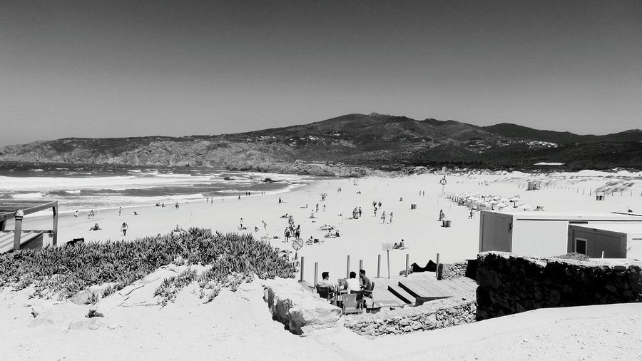 A Great Beach in Guincho Portugal... black n white photo... Eyeemphotography ¡Eyeem Addict! Monochrome EyeEm Best Shots - Black + White EyeEm Bnw Taking Pictures EyeEm Gallery Taking Photos Quality Time Hanging Out