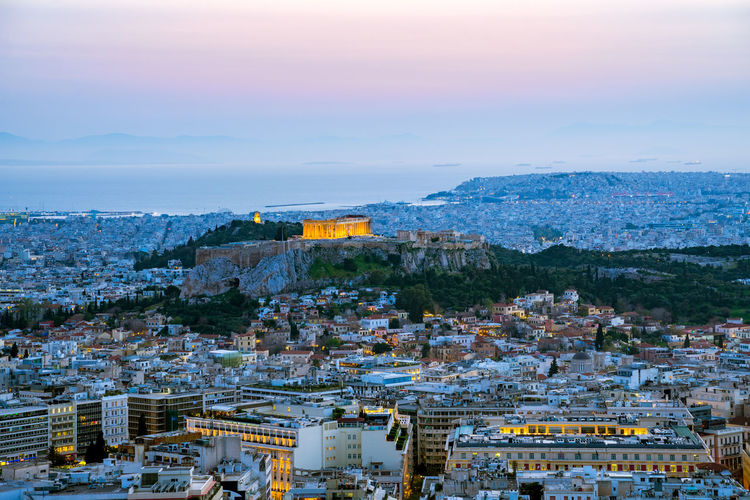 panoramic sunset view on Acropolis, Athens Athens, Greece Blue Hour City Life Cityscape Europe Trip Panorama Sky And Clouds Acropolis Athens City View  Colorful Greece Illuminated No People Panoramic Photography Sky Street Streetphotography Sunset Travel Destinations Urban Landscape Urban Skyline Urbanphotography