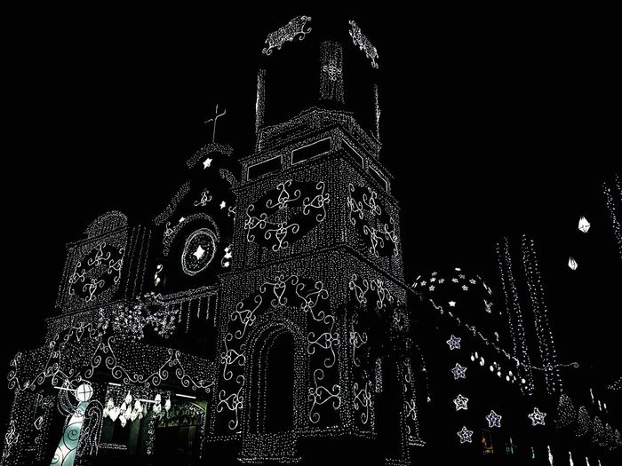 Architecture Travel Destinations Religion Place Of Worship Clock Night Tower Clock Tower Sky Spirituality Illuminated Low Angle View Building Exterior Medieval No People City Time Outdoors Clock Face Rose Window Eyeem Philippines PaskongPinoy2016