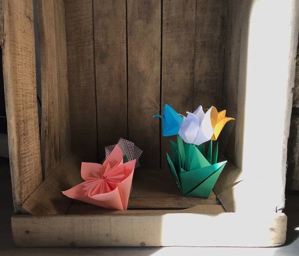 Origami Flower Wood - Material No People Indoors  Pink Color Paper Gift Close-up Multi Colored Day