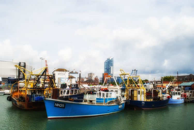 Fishing boats. Southsea Portsmouth Harbour Portsmouth Hampshire  Sea Camber Harbour Ship Sea And Sky Boats And Moorings Harbour View England🇬🇧 England Boats And Water Fishing Boats