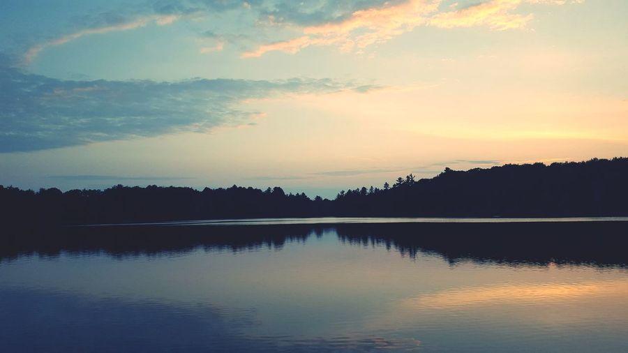 Water Tree Sunset Lake Silhouette Reflection Mountain Blue Dusk Sky