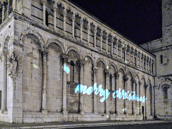 Merry Christmas to all from Lucca (Italy) Architectural Column Architecture Building Exterior Church Architecture Church Exterior Church Of San Michele In Lucca Lucca During Christmas Time Merry Christmas Night Lights Night Photography Outdoors