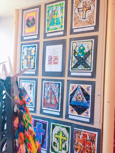 Multi Colored Pattern Window No People Indoors  Cross Painting Architecture Crayons 折り鶴
