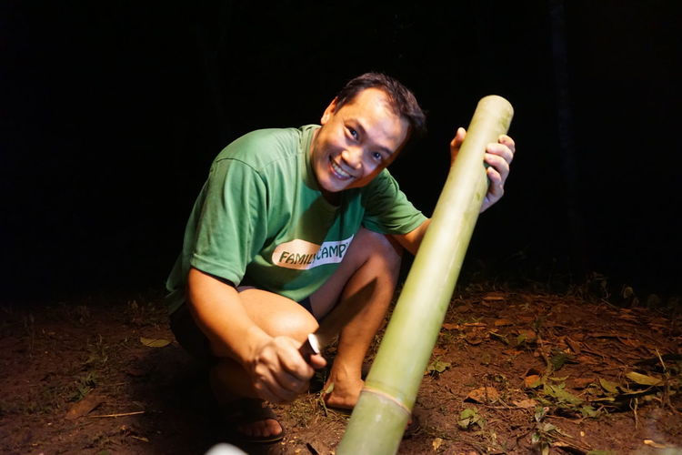 Cooking using young bamboo Bamboo Campfire Green Bamboo Night Fire Dinner