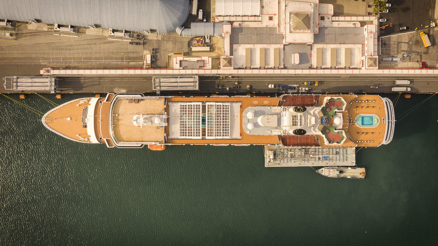 Aerial View Of Cruise Moored At Harbor