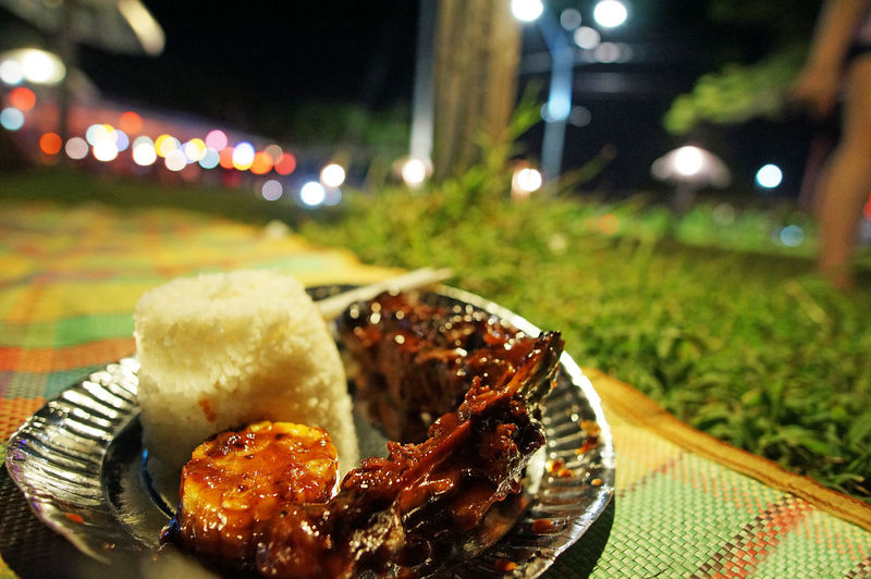 Food Plate Close-up Meat Road Side Filipino Food Philippines Food Park Food Bazaar Outdoors Nightlife Baby Back Ribs Rice