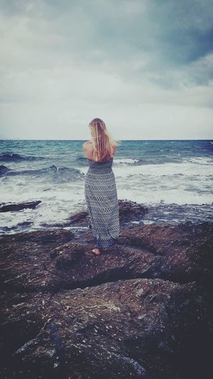 Young Woman Silence Young Women Woman Blond Hair Long Hair Long Dress Hippie France Saint Maxime StTropez French Frenchgirl Europe Frankreich Meer Water Sea Beach Full Length Women Sand Standing Childhood Wave Summer Horizon Over Water Coastline Ocean Sandy Beach Surf