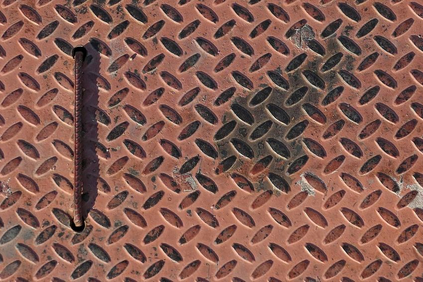Street Full Frame Pattern Backgrounds No People Day High Angle View Textured  Sunlight In A Row Outdoors Brown Repetition Metal Shape Side By Side