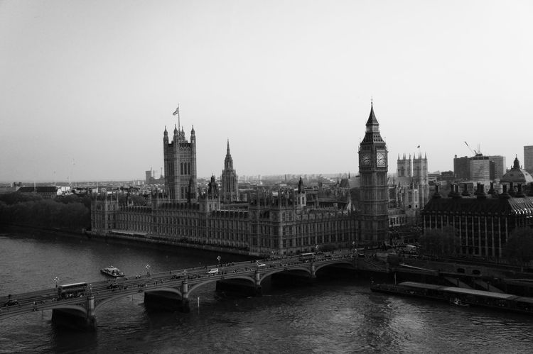 My b&w souvenir Architecture Black & White Black And White Blackandwhite Bridge - Man Made Structure Building Exterior City City Portraits Cityscape Clock Clock Tower Cultures EyeEm Best Shots EyeEm Gallery London No People Old Buildings Old Fashioned Outdoors River Travel Destinations Urban Geometry Vintage Water Westminster The Architect - 2017 EyeEm Awards