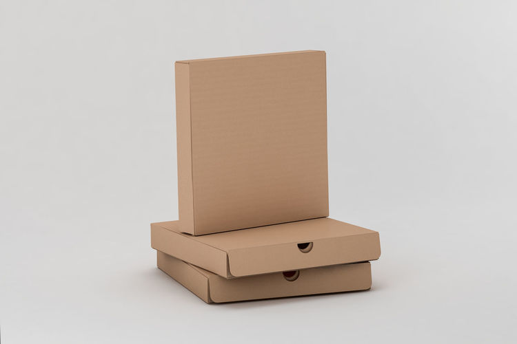 High angle view of box over white background