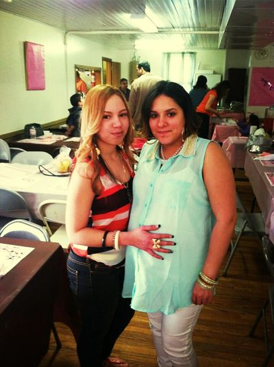 me and the god mother at my baby shower today