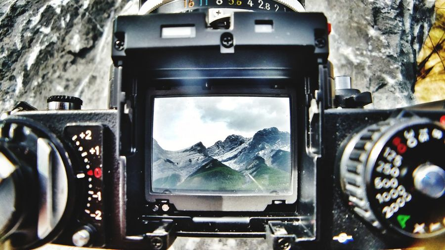 Technology No People Beauty In Nature Outdoors Sky Landscape Nature Mountain Nikonf3t From The View Finder Close-up Control Panel Day