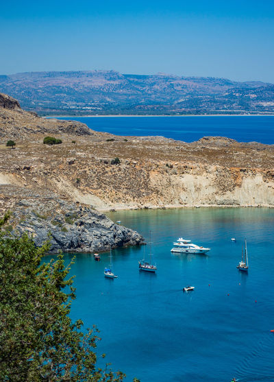 Greece EyeEm Selects Sea Nautical Vessel Beach Blue Water Aerial View Scenics Outdoors Travel Destinations Moored Landscape High Angle View No People Yacht Vacations Sailboat Day Harbor Ship Travel