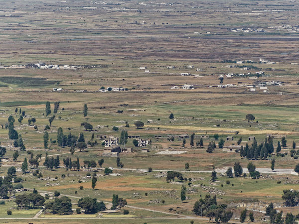 Aerial View Day Grass High Angle View Landscape Nature Outdoors Patchwork Landscape Quneitra Ruins Scenics Tranquil Scene Travel Destinations Tree Warzone